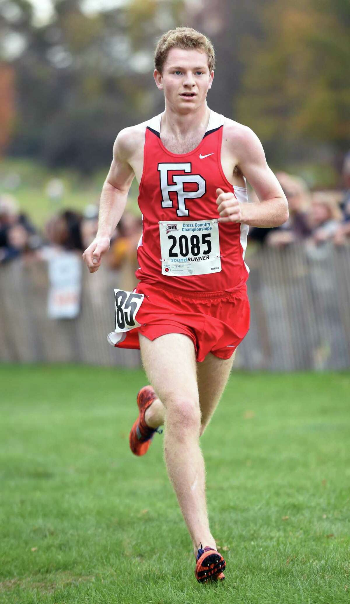 Drew Thompson of Fairfield Prep nears the finish line placing first in the 2017 CIAC Fall Championship Boys Cross Country race in Manchester on November 3, 2017.