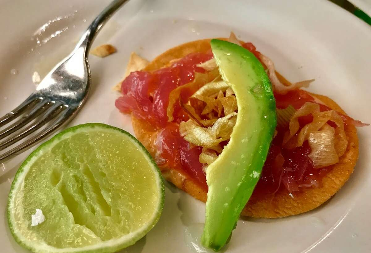 Ahi tuna tostada with dried onion, lemon mayo, sea salt and lime juice at the popular Contramar in Mexico City (Photo: Chris McGinnis)
