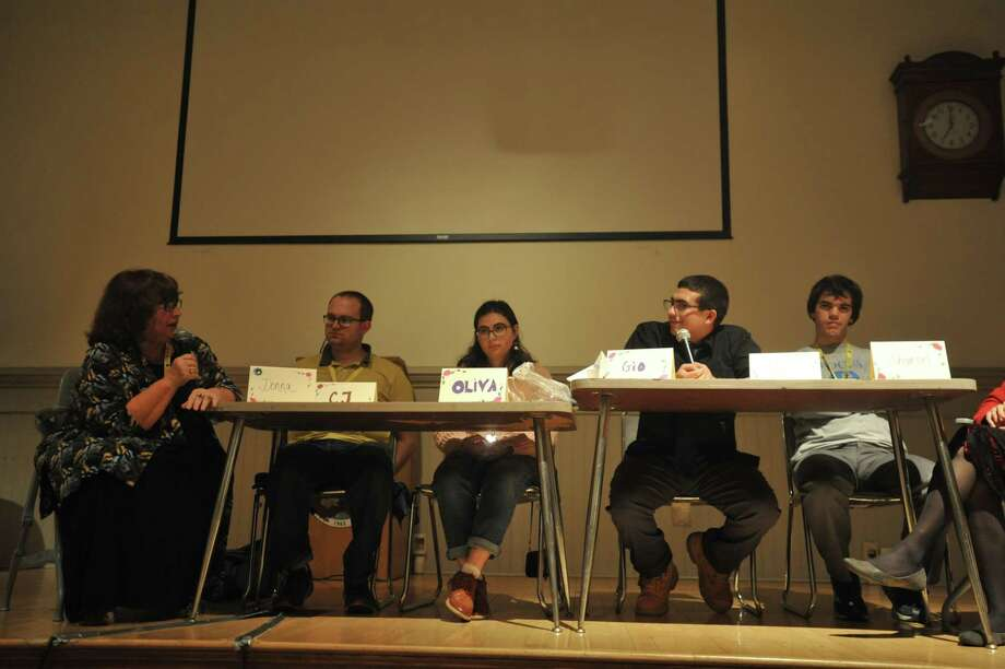 Four people with autism described their experiences Thursday evening during a panel discussion at Northwestern Connecticut Community College in Winsted. Photo: Ben Lambert / Hearst Connecticut Media