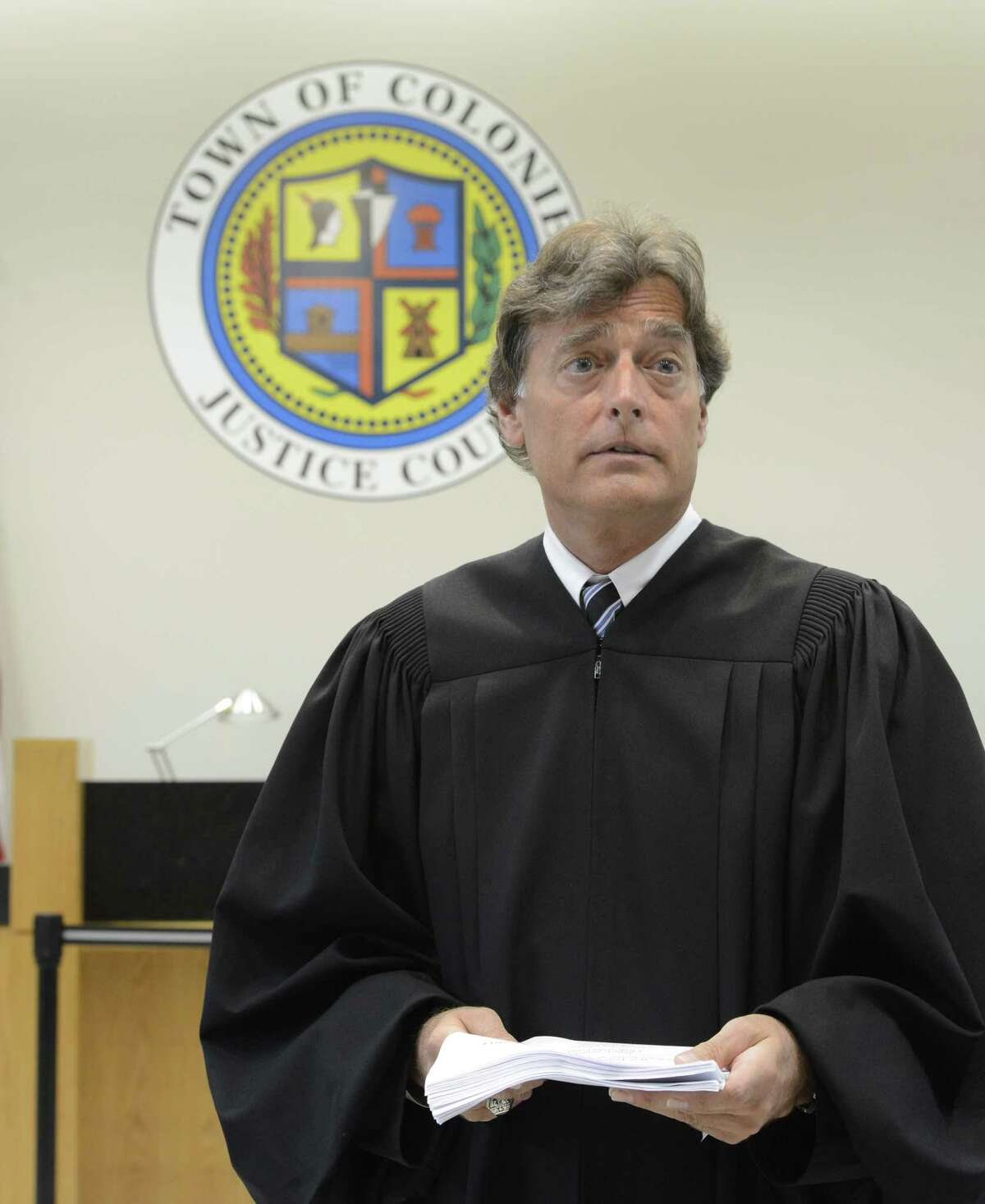 Presiding Town of Colonie Judge Peter Crummey in one of the two courtrooms in the Public Safety Center in Colonie, N.Y. June 11, 2012. In Feb. 2021, Crummey has not provided details - which are required under a new New York state law - about why he and Colonie's other two justices are recusing themselves from all cases involving one public defender. (Skip Dickstein / Times Union)