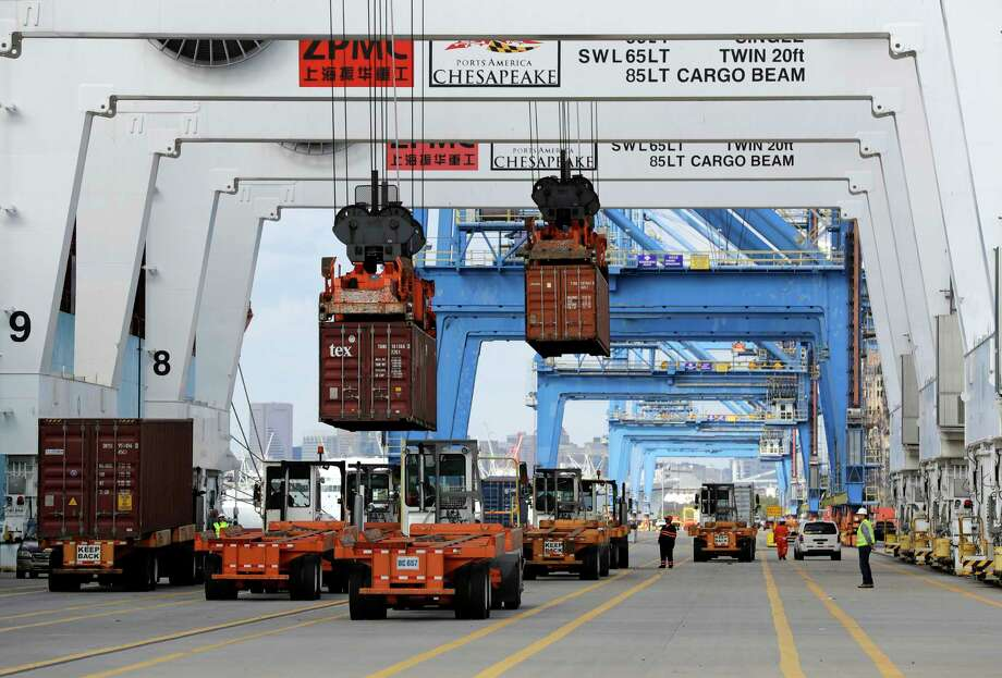 Containers are unloaded at the Port of Baltimore.  Photo: Patrick Semansky, STF / Copyright 2016 The Associated Press. All rights reserved.
