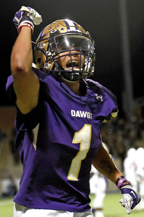 Midland High's Michael Galindo (1) celebrates after scoring against San Angelo Central on Nov. 3, 2017, at Grande Communications Stadium. James Durbin/Reporter-Telegram Photo: James Durbin