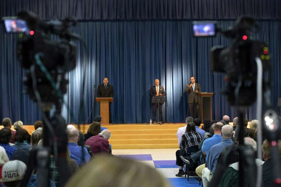 On Friday, November 3, 2017, at 7:00pm there was a mayoral debate pitting incumbent Democrat David Gronbach and challenger Republican Pete Bass against one another at Sarah Noble School in New Milford, CT. Photo: Trish Haldin / The News-Times Freelance