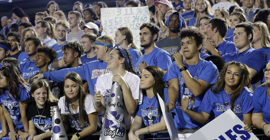 The New Caney student section cheers in the stands in the first half of their game against Porter, Nov. 3, 2017, in Porter, TX. (Michael Wyke / For the  Chronicle) Photo: Michael Wyke/For The Chronicle