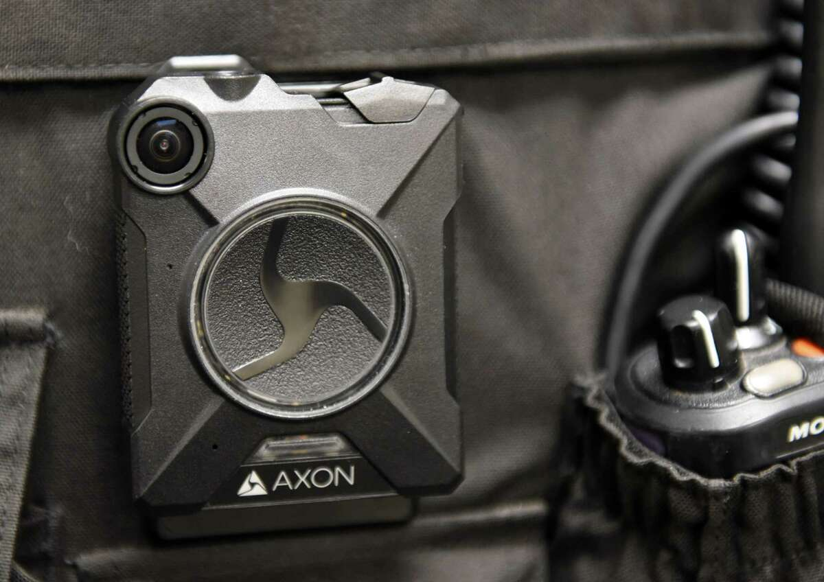An Axon Body 2 camera is displayed at Albany Police Headquarters on Friday, Nov. 3, 2017, in Albany, N.Y. The camera was chosen by the departed who will begin using body-worn cameras as part of their daily operations. (Will Waldron/Times Union)
