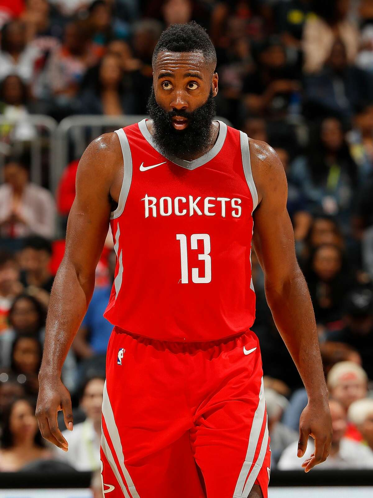ATLANTA, GA - NOVEMBER 03: James Harden #13 of the Houston Rockets looks on during the game against the Atlanta Hawks at Philips Arena on November 3, 2017 in Atlanta, Georgia. NOTE TO USER: User expressly acknowledges and agrees that, by downloading and or using this photograph, User is consenting to the terms and conditions of the Getty Images License Agreement. (Photo by Kevin C. Cox/Getty Images)