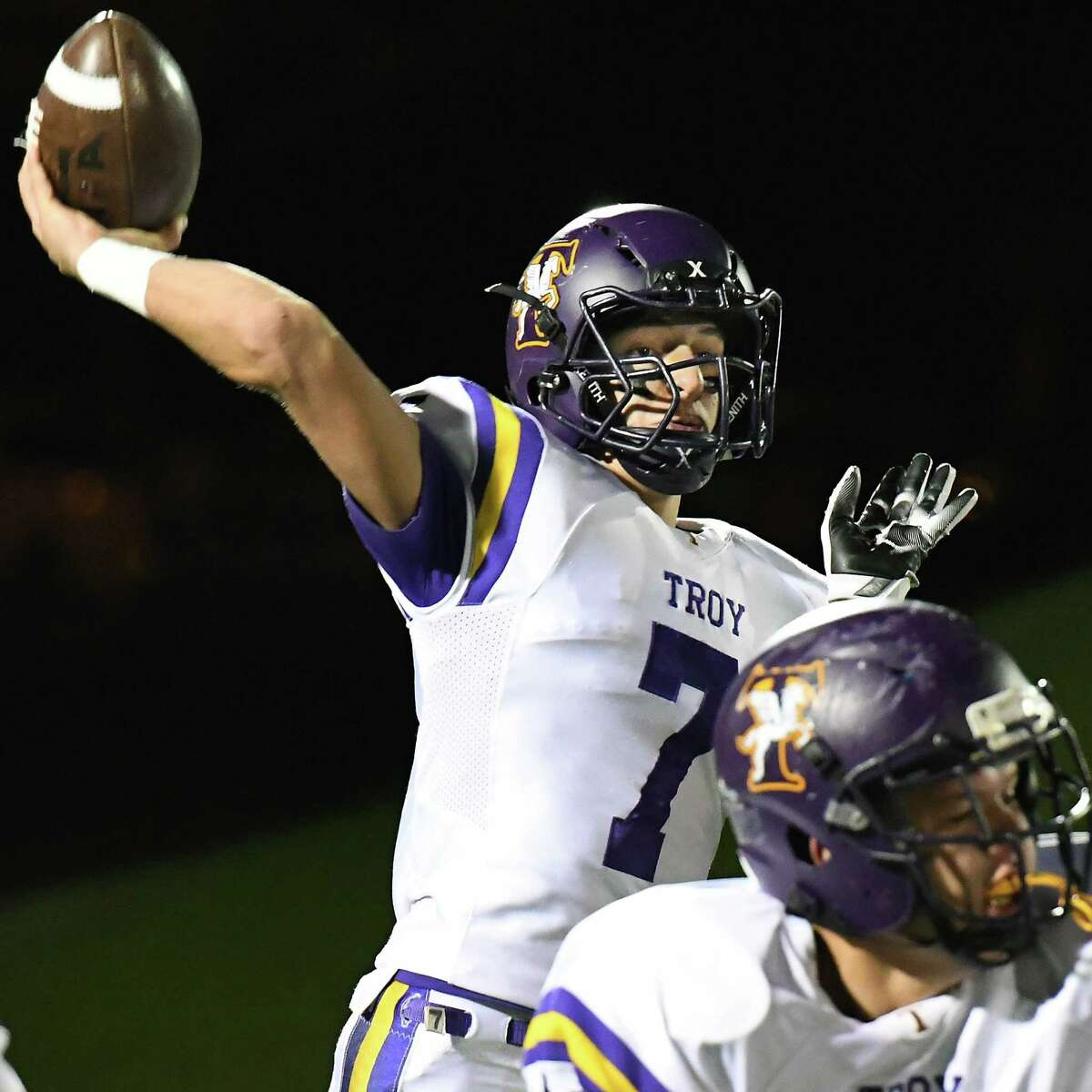 Troy QB Joe Casale fires off a pass during their Class AA Super Bowl game against Saratoga High Friday Nov. 3, 2017 at UAlbany's Casey Stadium in Albany, NY. (John Carl D'Annibale / Times Union)