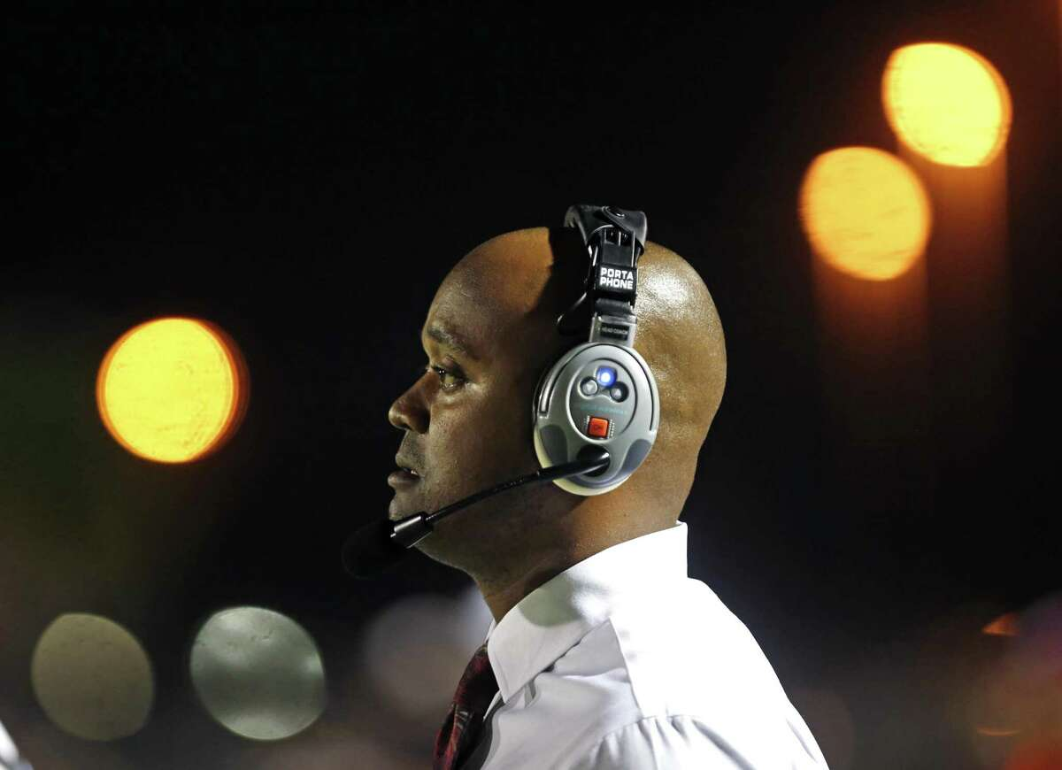 Highlands head coach Hank Willis watches action from the District 28-5A high school football game between Memorial and Highlands on Friday, November 3, 2017 at Edgewood Memorial Stadium.