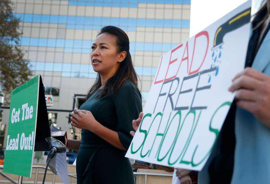 Vien Truong, CEO of Dream Corps, speaks at a news conference by local groups in Oakland, Calif. on Wednesday, Nov. 1, 2017 to launch a new campaign to remove lead from drinking water at Oakland schools. Photo: Paul Chinn, The Chronicle
