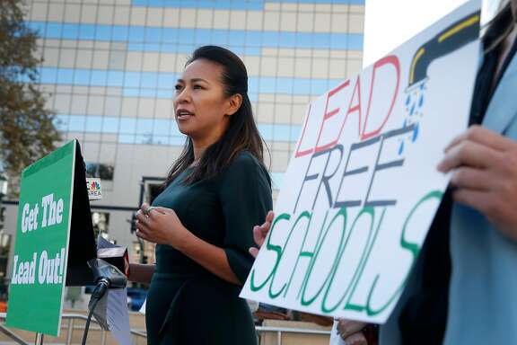 Vien Truong, CEO of Dream Corps, speaks at a news conference by local groups in Oakland, Calif. on Wednesday, Nov. 1, 2017 to launch a new campaign to remove lead from drinking water at Oakland schools.