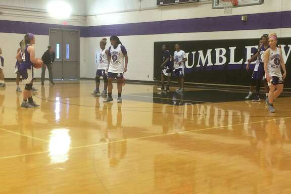 The Humble girls basketball team practices at the high school gym on Thursday, November 2