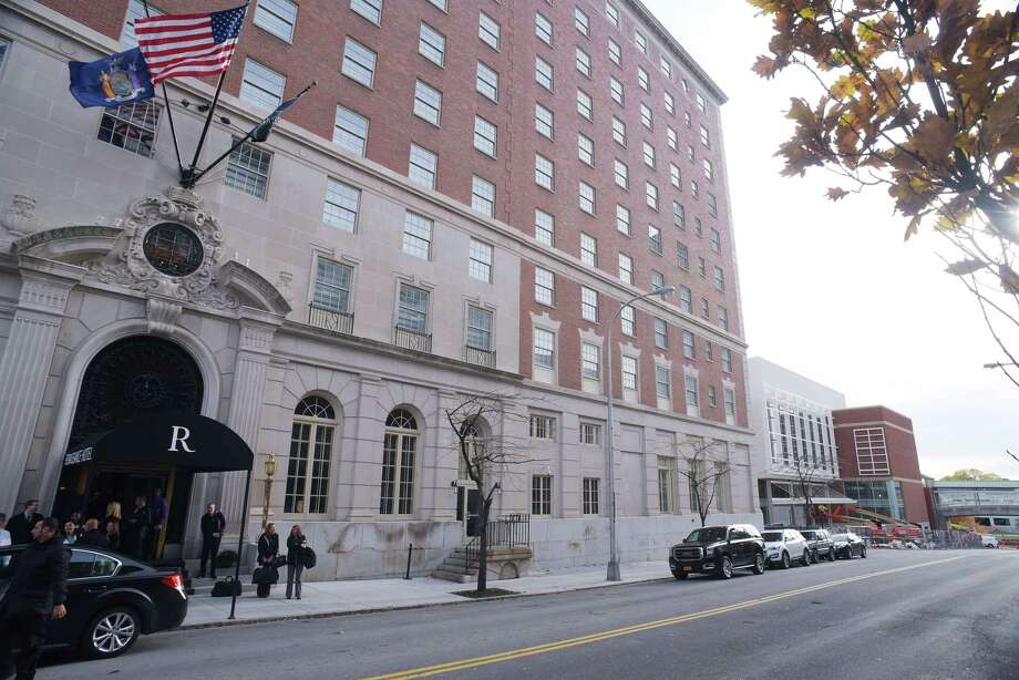 A view of the Renaissance Albany Hotel on Thursday, Nov. 10, 2016, in Albany, N.Y.  The Albany Capital Center is seen in the background.   (Paul Buckowski / Times Union) Photo: PAUL BUCKOWSKI, Albany Times Union / 20038758A