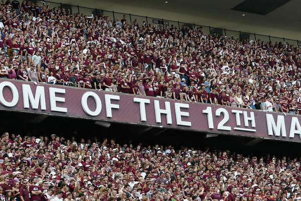 COLLEGE STATION, TX - NOVEMBER 04:  Texas A&M student section at Kyle Field on November 4, 2017 in College Station, Texas.