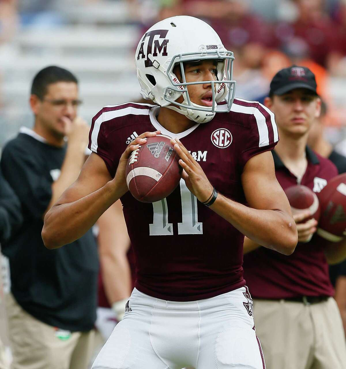 COLLEGE STATION, TX - NOVEMBER 04: Kellen Mond #11 of the Texas A&M Aggies warms up before their game against the Auburn Tigers at Kyle Field on November 4, 2017 in College Station, Texas.