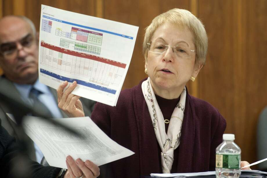 Marlene Siegel, Finance Director for Bridgeport Public Schools speaks at Finance Committee meeting in Bridgeport Conn. Nov. 2, 2017. The meeting was held to address a budget shortfall left by the recently passed state budget. Photo: Ned Gerard / Hearst Connecticut Media / Connecticut Post