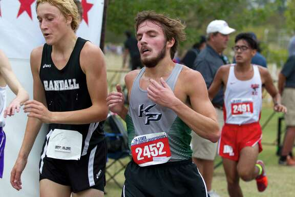 Justin Maynard, of Kingwood Park, competes in the Class 5A boys race during the UIL State Cross Country Championships at Old Settlers Park, Saturday, Nov. 4, 2017, in Round Rock.