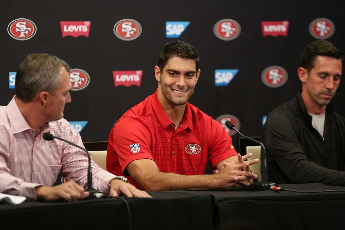 From left: San Francisco 49ers general manager John Lynch, newly acquired quarterback Jimmy Garoppolo and head coach Kyle Shanahan during a news conference on Tuesday, Oct. 31, 2017, in Santa Clara, Calif. The 49ers traded a second round pick to the New England Patriots for quarterback Jimmy Garoppolo.