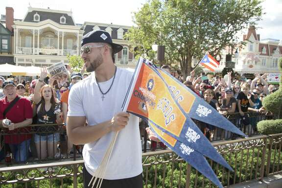 Houston Astros player and World Series MVP, George Springer, greets fans at Magic Kingdom Park in Lake Buena Vista, Fla., Saturday, Nov. 4, 2017. Springer later joined All-Star Carlos Correa and American League batting champion Jose Altuve to lead off a Walt Disney World Parade saluting the teamÕs first world title in its 56-year history. (Gregg Newton, photographer)