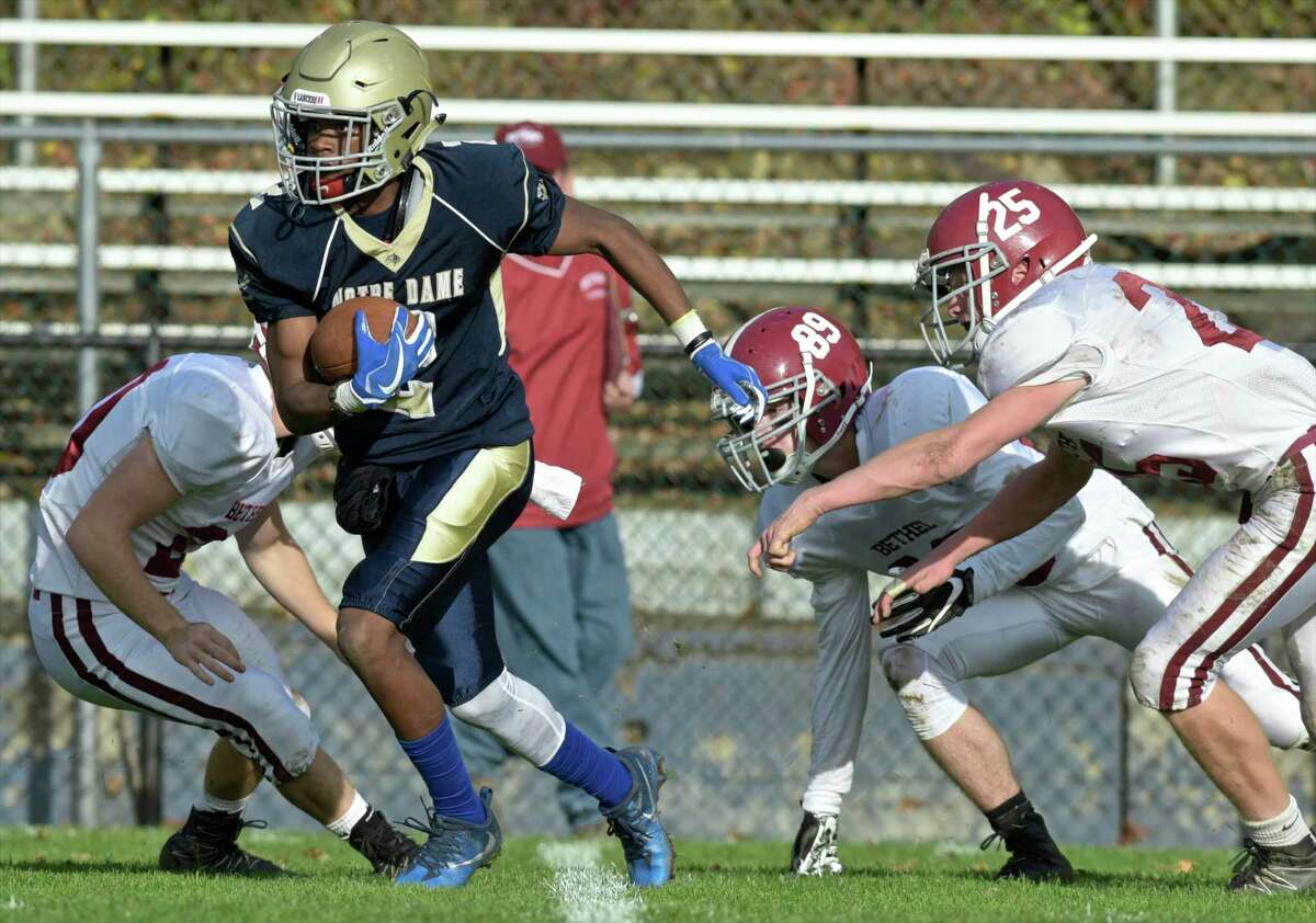 ND-Fairfield's Josh Tracey (2), before transferring to Avon Old Farms, during a punt return in the Football game between Bethel and Notre Dame-Fairfield high schools Saturday afternoon, November 4, 2017, at Notre Dame High School, Fairfield, Conn.