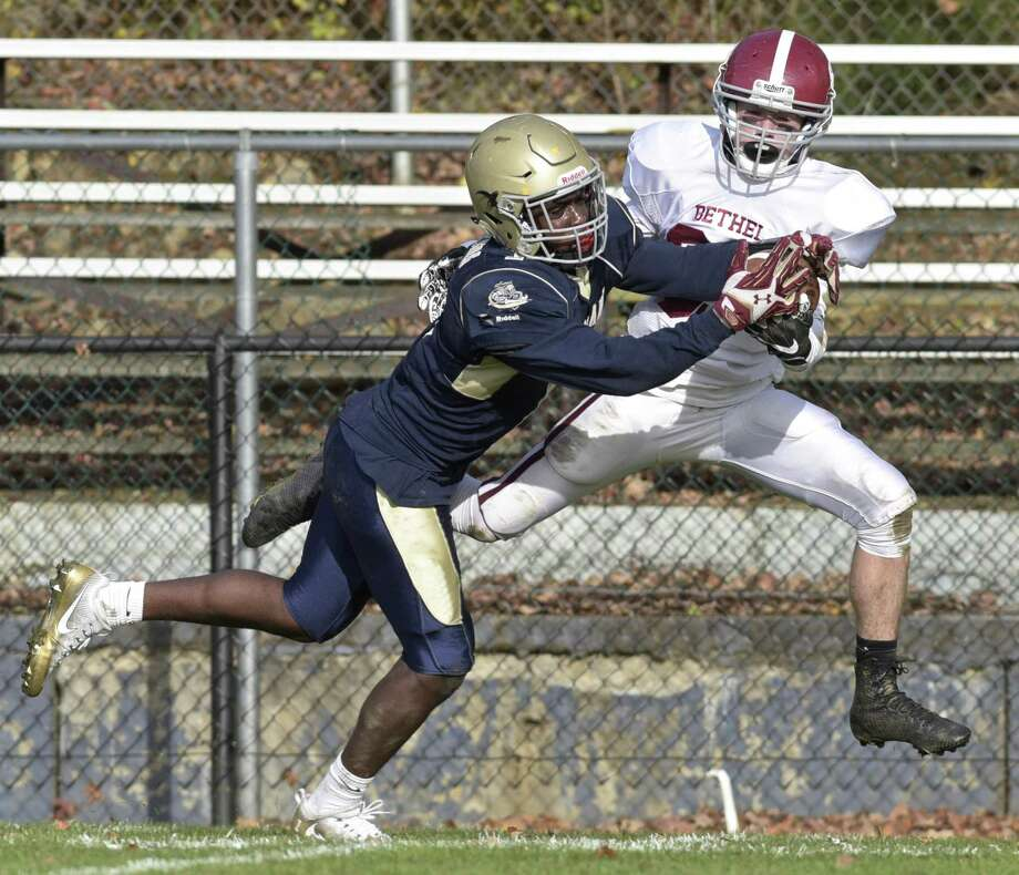 ND-Fairfield's Micah Brantley (1) intercepts a pass intended for Bethel's Nicholas Quinn (89) in the Football game between Bethel and Notre Dame-Fairfield high schools on Saturday afternoon, November 4, 2017, at Notre Dame High School, Fairfield, Conn. Photo: H John Voorhees III / Hearst Connecticut Media / The News-Times