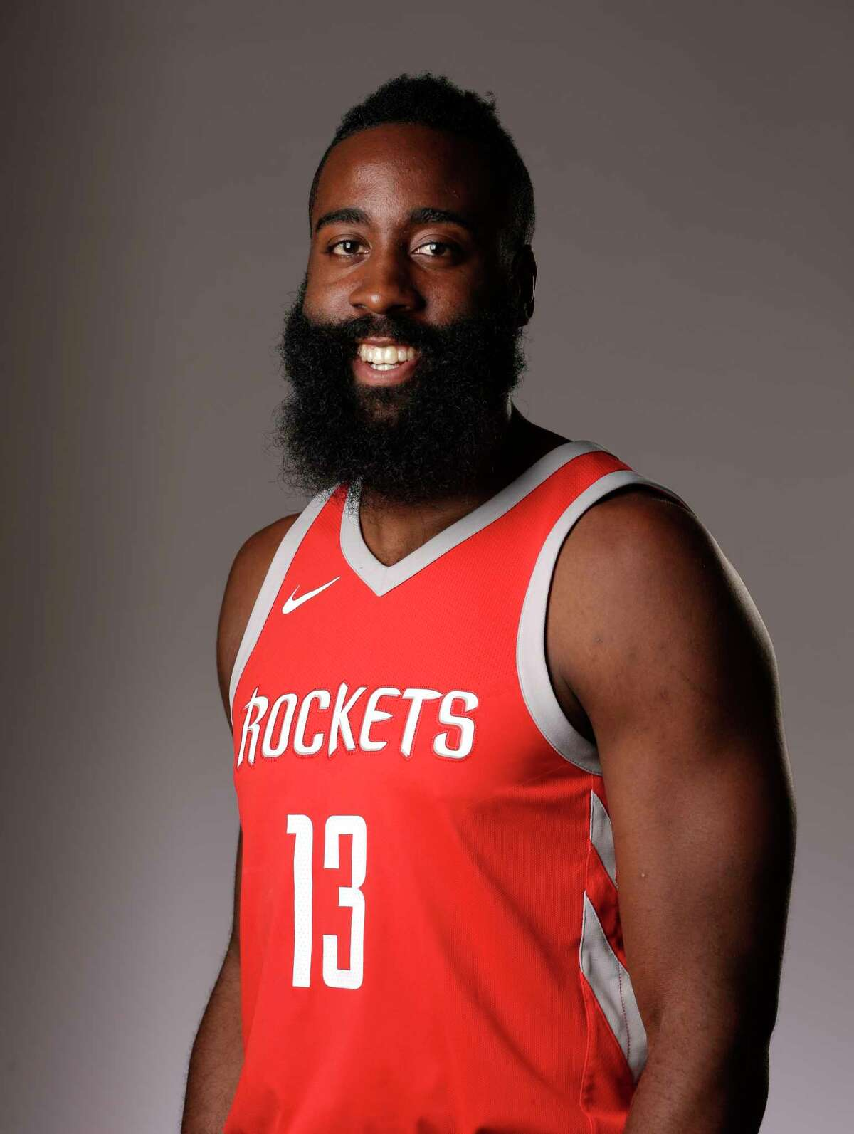 Houston Rockets' James Harden poses during a NBA basketball media day Monday, Sept. 25, 2017, in Houston. (AP Photo/Michael Wyke)