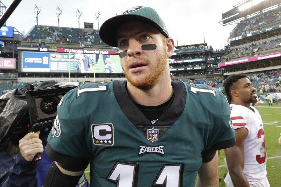 Philadelphia Eagles quarterback Carson Wentz. Photo: Chris Szagola / Associated Press / FR170982 AP