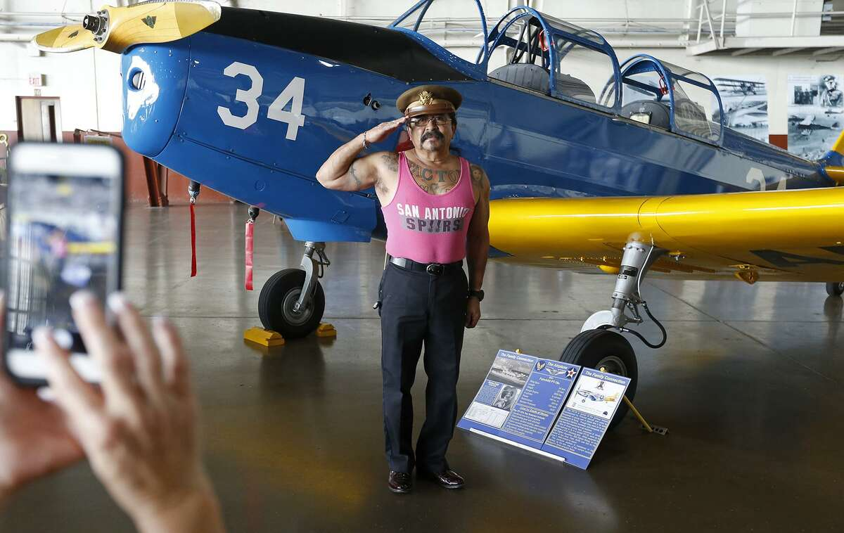 Joe Factor, 61, poses for a photo with a 1941Fairchild PT-19 during the the Joint Base San Antonio 2017 Air Show and Open House held Saturday Nov 4, 2017 at JBSA-Lackland Kelly Field Annex at Port San Antonio.