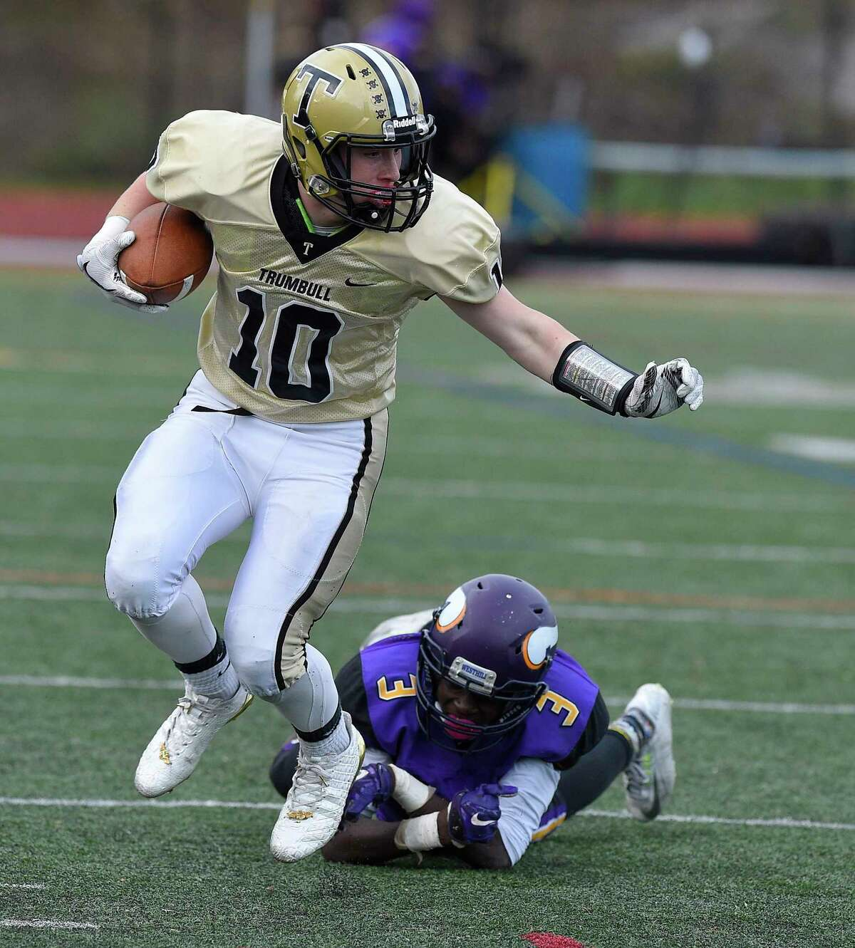 Westhill defeated Trumbull 29-21 in a FCIAC boys football game at Westhill High School in Stamford, Connecticut on Saturday, Nov. 4, 2017.
