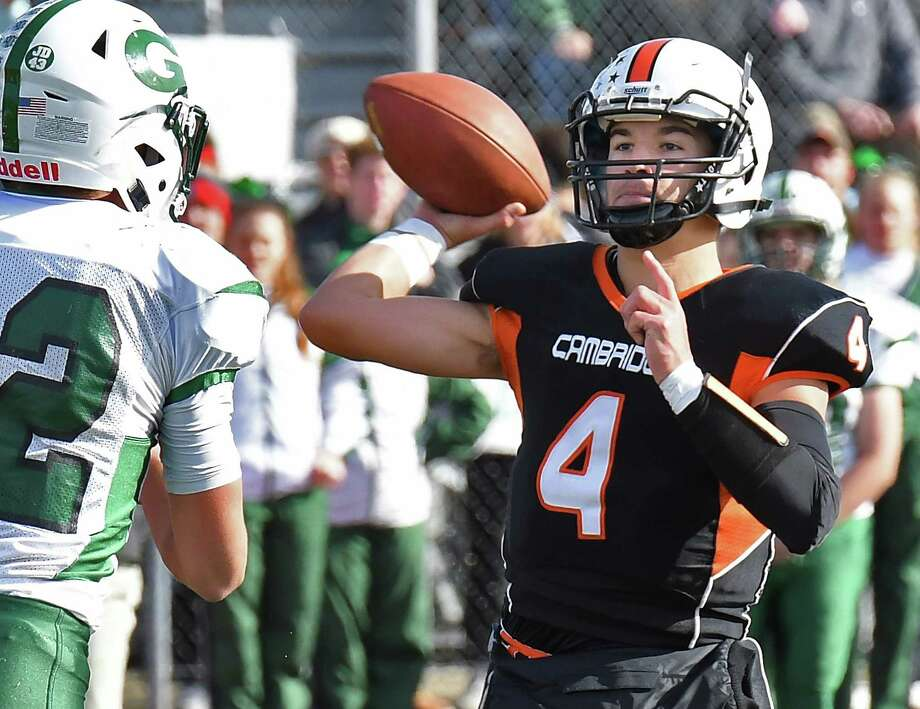 Cambridge QB #4 Zack Rowland gets off a pass during their Class D Super Bowl against Greenwich Saturday Nov. 4, 2017 in Schuylerville, NY.  (John Carl D'Annibale / Times Union) Photo: John Carl D'Annibale / 20042007A