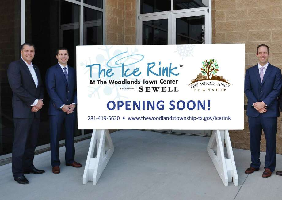 The Woodlands Township Board Chairman Gordy Bunch, General Manager of Sewell INFINITI of North Houston Will Bonilla and General Manager of Audi North Houston Chris Childs welcome Sewell as the presenting sponsor of The Ice Rink for the 2017-2018 season. Photo: Submitted