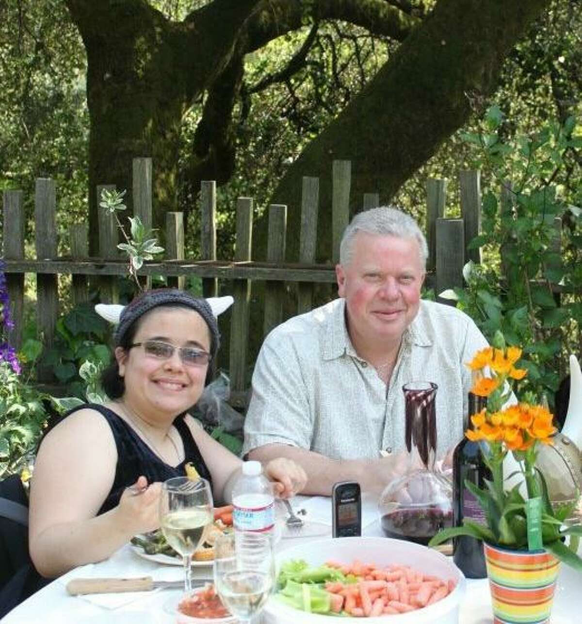 Michael Hanson and his daughter Christina enjoy a meal together in Sonoma County. Christina died when the Tubbs Fire destroyed their home near Santa Rosa on Oct. 9. Michael Hanson is recovering from severe burns at St. Francis Memorial Hospital in San Francisco.