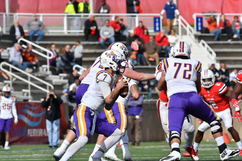 UAlbany quarterback Will Brunson gets ready to throw a pass against Stony Brook in their football game on Saturday, Nov. 4, 2017. Stony Brook won 28-21 at LaValle Stadium. (Jim Harrison / Stony Brook Athletics)