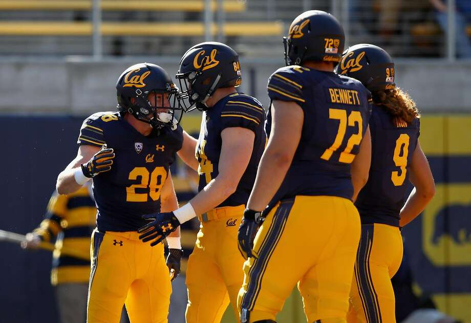 BERKELEY, CA - NOVEMBER 04:  Patrick Laird #28 of the California Golden Bears celebrates with teammates after scoring a touchdown against the Oregon State Beavers at California Memorial Stadium on November 4, 2017 in Berkeley, California.  (Photo by Ezra Shaw/Getty Images) Photo: Ezra Shaw, Getty Images