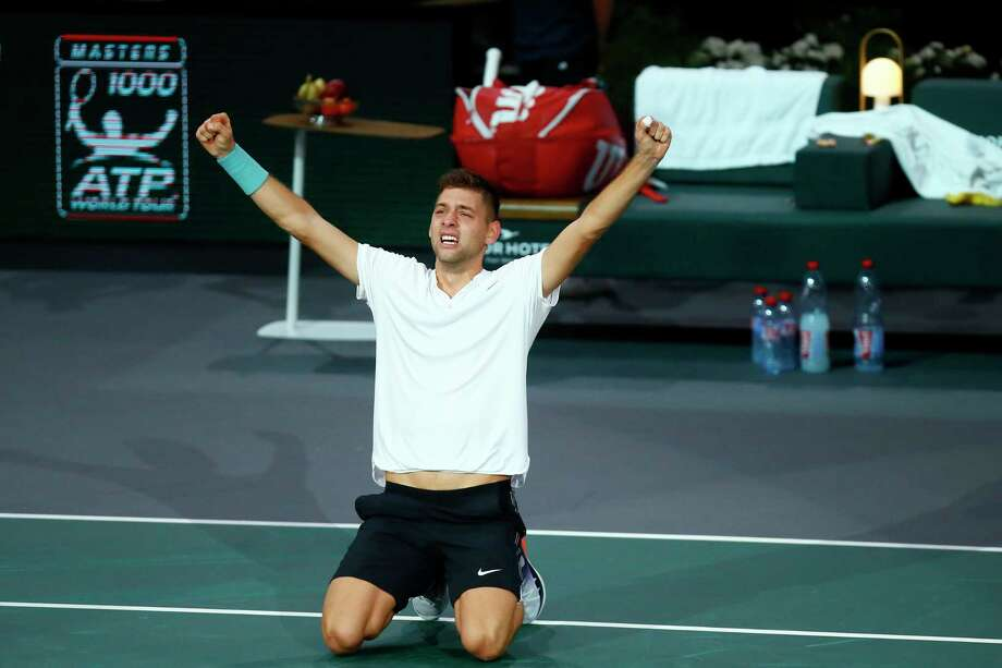 Filip Krajinovic of Serbia celebrates his victory against John Isner of the United States during their semi-final match of the Paris Masters tennis tournament at the Bercy Arena in Paris, France, Saturday, Nov. 4, 2017. (AP Photo/Francois Mori) Photo: Francois Mori, STF / AP