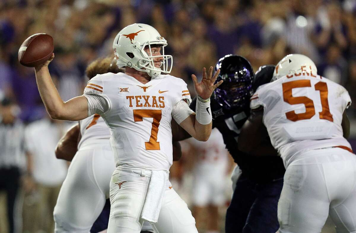 Shane Buechele (7) will start at quarterback for Texas Saturday when the Longhorns play host to Kansas.