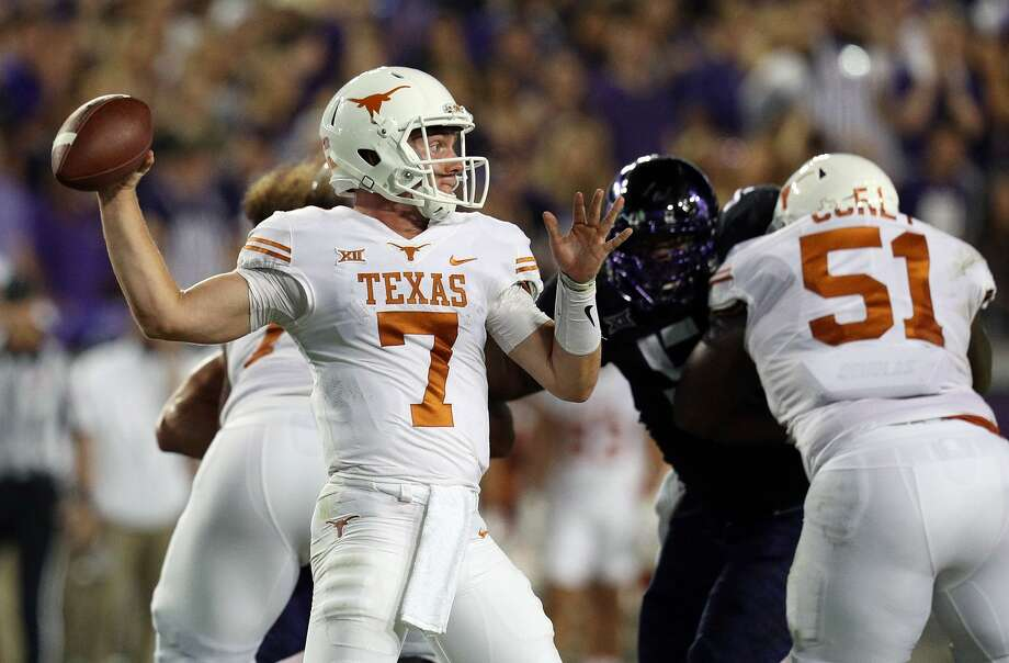 Shane Buechele (7) will start at quarterback for Texas Saturday when the Longhorns play host to Kansas. Photo: Richard Rodriguez/Getty Images