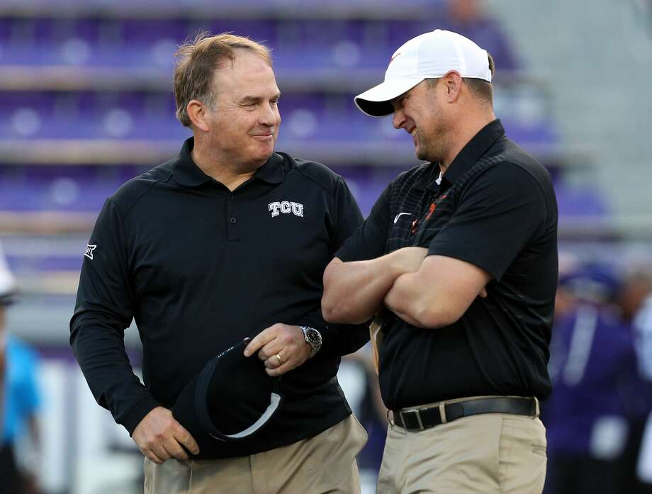 FORT WORTH, TX - NOVEMBER 04:  Head coach Gary Patterson of the TCU Horned Frogs visits with head coach Tom Herman of the Texas Longhorns before the game at Amon G. Carter Stadium on November 4, 2017 in Fort Worth, Texas.  (Photo by Richard W. Rodriguez/Getty Images) Photo: Richard Rodriguez/Getty Images