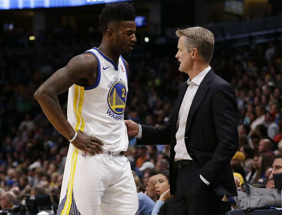 Golden State Warriors forward Jordan Bell (2) talks with head coach Steve Kerr during the second quarter of an NBA basketball game against the Denver Nuggets Saturday, Nov. 4, 2017, in Denver. (Photo by Jack Dempsey) Photo: Jack Dempsey, Associated Press