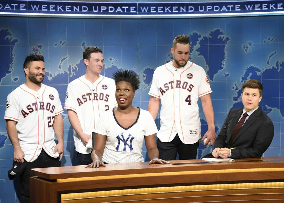 "SATURDAY NIGHT LIVE -- Episode 1729 -- Pictured: (l-r) José Altuve, Alex Bregman, George Springer of The Houston Astros Leslie Jones, Colin Jost during ""Weekend Update"" in Studio 8H on Saturday, November 4, 2017 -- (Photo by: Will Heath/NBC/NBCU Photo Bank via Getty Images) Photo: NBC/NBCU Photo Bank Via Getty Images"
