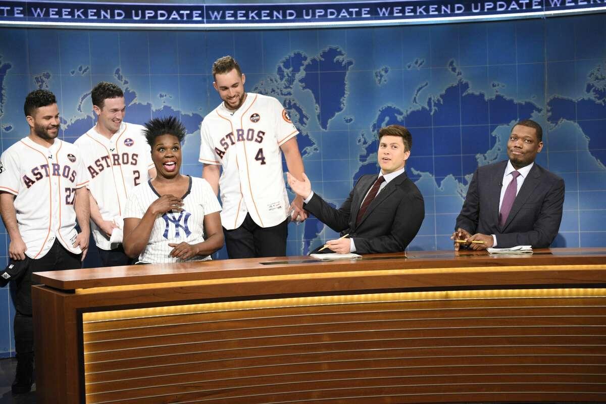 SATURDAY NIGHT LIVE -- Episode 1729 -- Pictured: (l-r) José Altuve, Alex Bregman, George Springer of The Houston Astros Leslie Jones, Colin Jost, Michael Che during