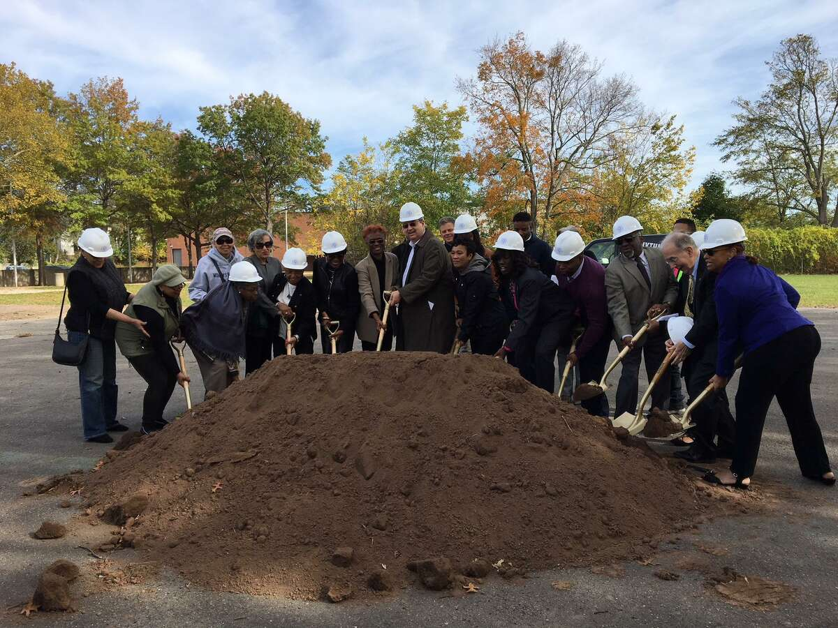 New Haven officials at Q House symbolic groundbreaking Saturday.