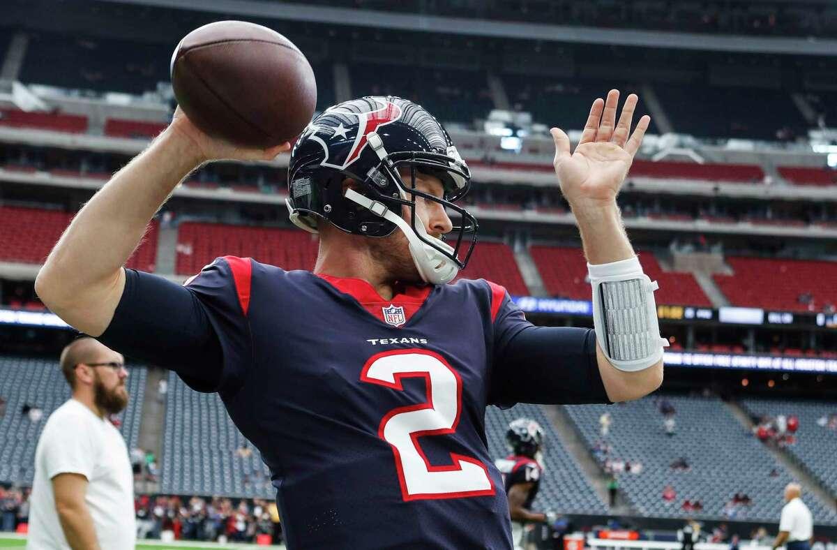 Houston Texans quarterback T.J. Yates warms up before an NFL football game at NRG Stadium on Sunday, Nov. 5, 2017, in Houston.