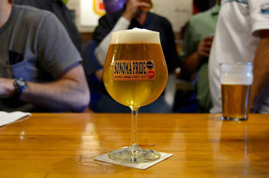 Russian River Brewing Company raises money for Sonoma County fire relief through Sonoma Pride, a fundraising plan involving 60 breweries. Pictured is a Sonoma Pride branded glass atop the bar at Russian River's Santa Rosa taproom on October 22, 2017. Photo: Alyssa Pereira
