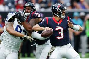 Houston Texans quarterback Tom Savage (3) drops back to pass against the Indianapolis Colts during the first quarter of an NFL football game at NRG Stadium on Sunday, Nov. 5, 2017, in Houston.