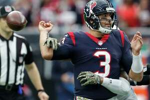 Houston Texans quarterback Tom Savage (3) fumbles as he is hit by Indianapolis Colts outside linebacker Jabaal Sheard on the final play of the fourth quarter of an NFL football game at NRG Stadium on Sunday, Nov. 5, 2017, in Houston.