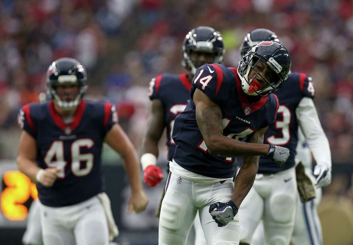 Houston Texans wide receiver Chris Thompson (14) celebrates after making a tackle on a kickoff return against the Indianapolis Colts at NRG Stadium Sunday, Nov. 5, 2017, in Houston. The Colts won 20-14.