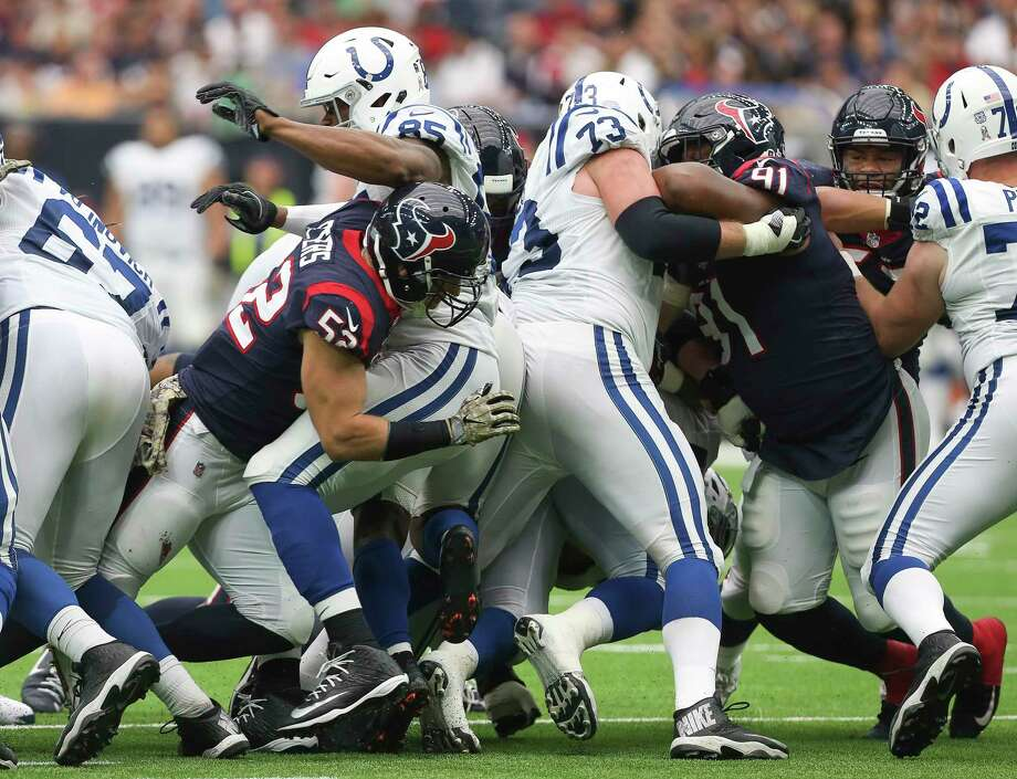 Houston Texans and Indianapolis Colts players tangled while scrimmaging during the third quarter of an NFL football game at NRG Stadium on Sunday, Nov. 5, 2017, in Houston.SLIDESHOW: Scroll through the photos to see John McClain's preview for Sunday's season finale against the Colts. Photo: Yi-Chin Lee, Houston Chronicle / © 2017 Houston Chronicle
