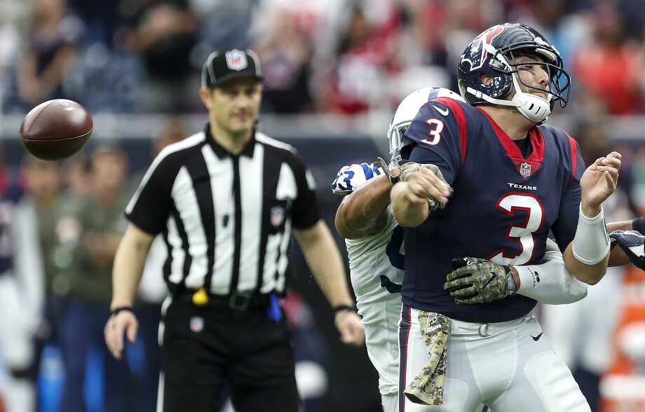 Houston Texans quarterback Tom Savage (3) fumbles as he is hit by Indianapolis Colts outside linebacker Jabaal Sheard on the final play of the fourth quarter of an NFL football game at NRG Stadium on Sunday, Nov. 5, 2017, in Houston. ( Brett Coomer / Houston Chronicle ) Photo: Brett Coomer/Houston Chronicle
