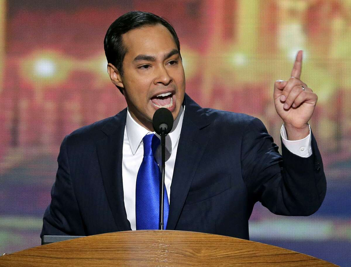 """San Antonio Mayor Julián Castro addresses the 2012 Democratic National Convention. Castro on Sunday said he will spend 2018 weighing whether to run for president. He said the country needs someone """"fundamentally honest"""" in the White House."""