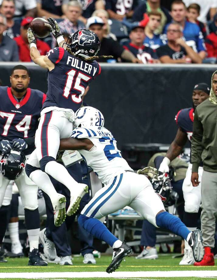 Indianapolis Colts cornerback Nate Hairston (27) breaks up a pass intended for Houston Texans wide receiver Will Fuller (15) during the first quarter of an NFL football game at NRG Stadium on Sunday, Nov. 5, 2017, in Houston. Photo: Brett Coomer, Houston Chronicle / © 2017 Houston Chronicle